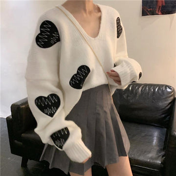 Modakawa Sweatshirt White / One Size Love Heart Embroidery V Neck Loose Sweater