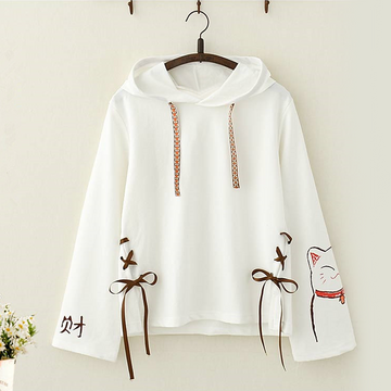 Modakawa Sweatshirt White / One Size Lucky Cat Bow Lace Hoodie