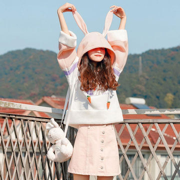 Modakawa Sweatshirt White / One Size Rabbit Print Carrot Drawstrings Hoodie
