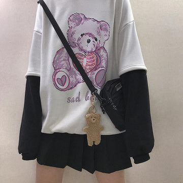 Modakawa Sweatshirt White / One Size SAD BEAR Print Fake Two-Piece Hoodie