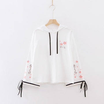 Modakawa Sweatshirt White / One Size Sakura Embroidery Lace-up Sleeves Hoodie