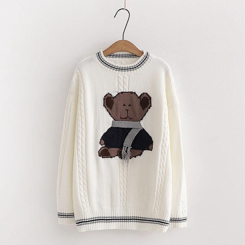 Modakawa Sweatshirt White / One Size Scarf Bear Round Neck Loose Knitted Sweater