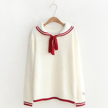 Modakawa Sweatshirt White / One Size School Collar Stripe Bowkont Tie Embroidery Knitted Sweatshirt