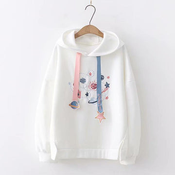 Modakawa Sweatshirt White / One Size Sweet Planet Embroidery Cartoon Hoodie