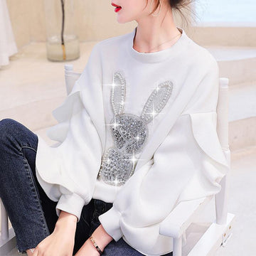 Modakawa Sweatshirt White / S Cotton Beads Rabbit Sweatshirt