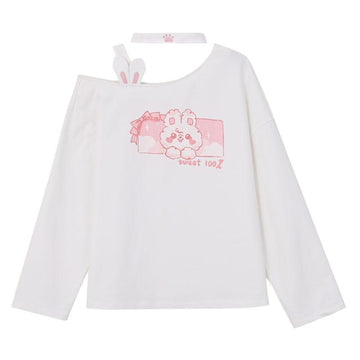 Modakawa Sweatshirt White / S Kawaii Rabbit Print Off-Shoulder Sweatshirt