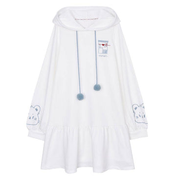 Modakawa Sweatshirt White / S Kitty Embroidery Fuzzy Ball Drawstring Dress Hoodie