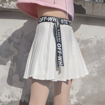 Modakawa Sweatshirt White Skirt / S Love Heart Print Color Block Hoodie Pleated Skirt Set