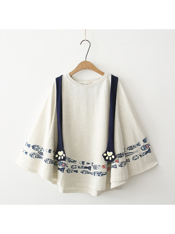 Modakawa Sweatshirt White Small Fish Cloak Sweatshirt