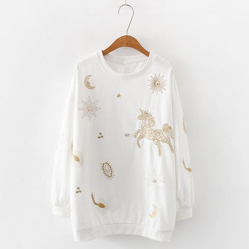 Modakawa Sweatshirt White Star Moon Horse Embroidery Sweatshirt Loose