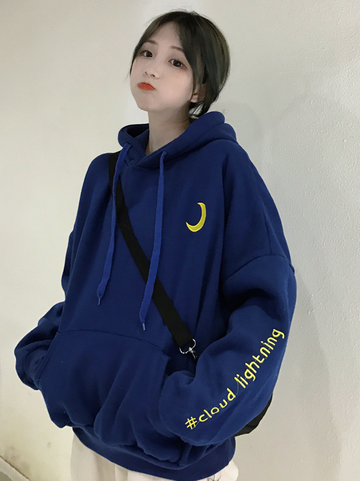 Modakawa Sweatshirt Women Moon Embroidered Blue Hoodie
