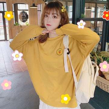 Modakawa Sweatshirt Yellow / M Bear Rabbit Duck Cartoon Embroidery Sweatshirt