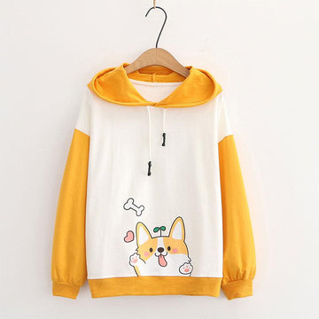 Modakawa Sweatshirt Yellow / M Puppy Print Ears Color Block Hoodie