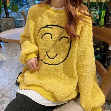 Modakawa Sweatshirt Yellow / M Smile Face Fake Two-Piece Loose Sweatshirt