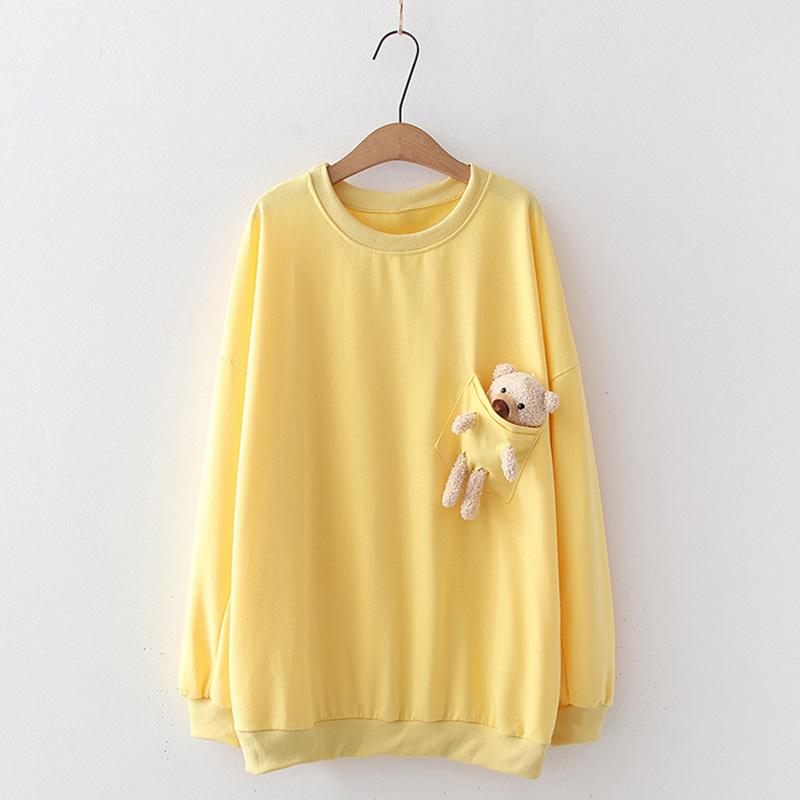 Modakawa Sweatshirt Yellow / One Size Bear Pocket Loose Sweatshirt