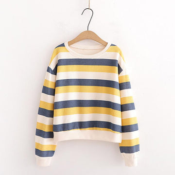 Modakawa Sweatshirt Yellow / One Size Candy Color Stripe Short Sweatshirt