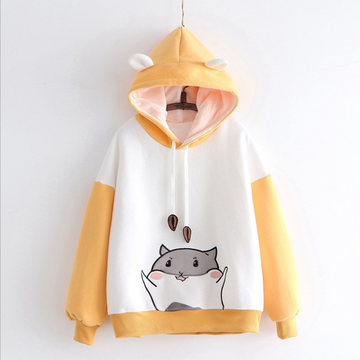Modakawa Sweatshirt Yellow / One Size Cute Little Hamster Color Block Hoodie