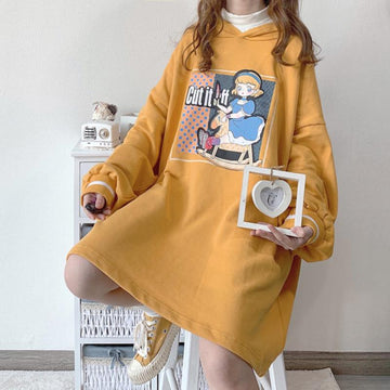 Modakawa Sweatshirt Yellow / One Size Doll Cartoon Print Oversize Hoodie Dress