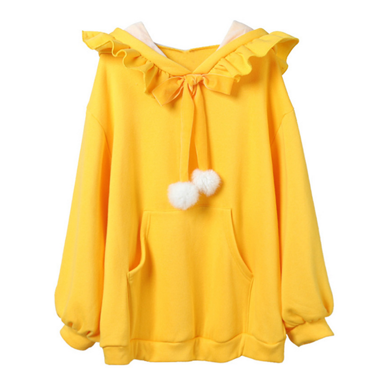 Modakawa Sweatshirt Yellow / One Size Fuzzy Ball Ruffle Hoodie Sweatshirt