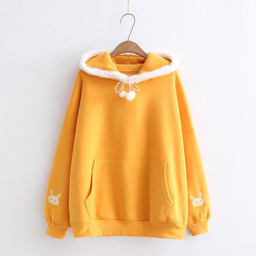 Modakawa Sweatshirt Yellow / One Size Little Cute Rabbit Mori Girl Hoodie