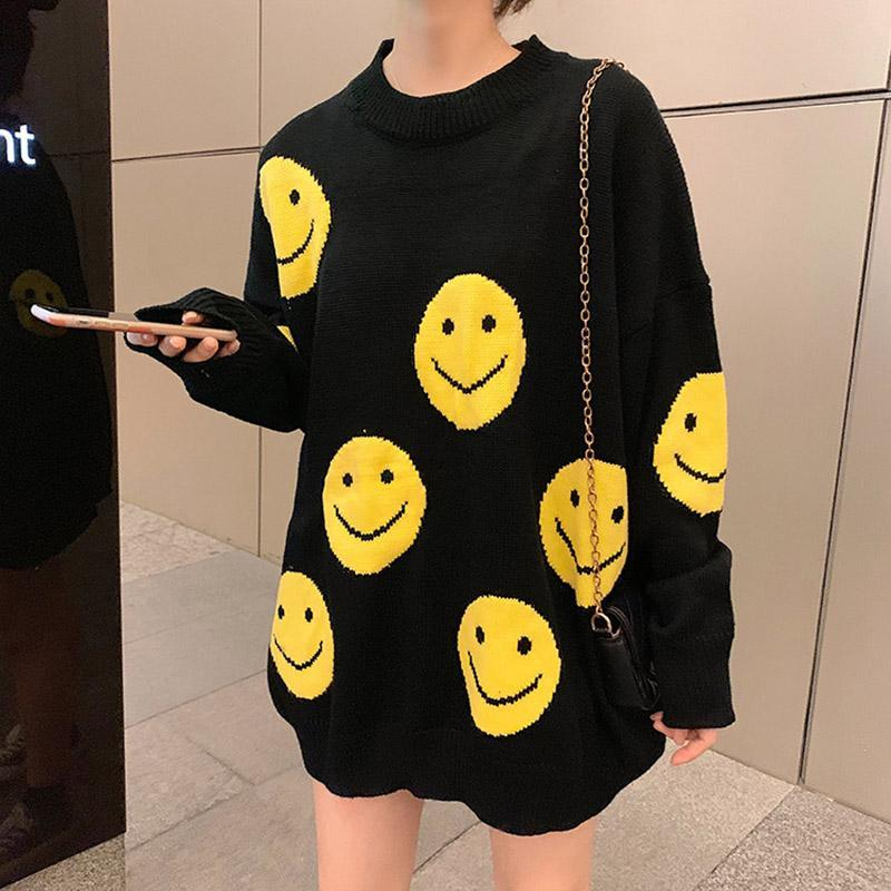 Modakawa Sweatshirt Yellow / One Size Oversize Cartoon Smiling Face Sweater
