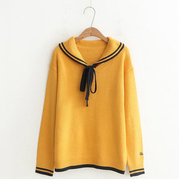 Modakawa Sweatshirt Yellow / One Size School Collar Stripe Bowkont Tie Embroidery Knitted Sweatshirt