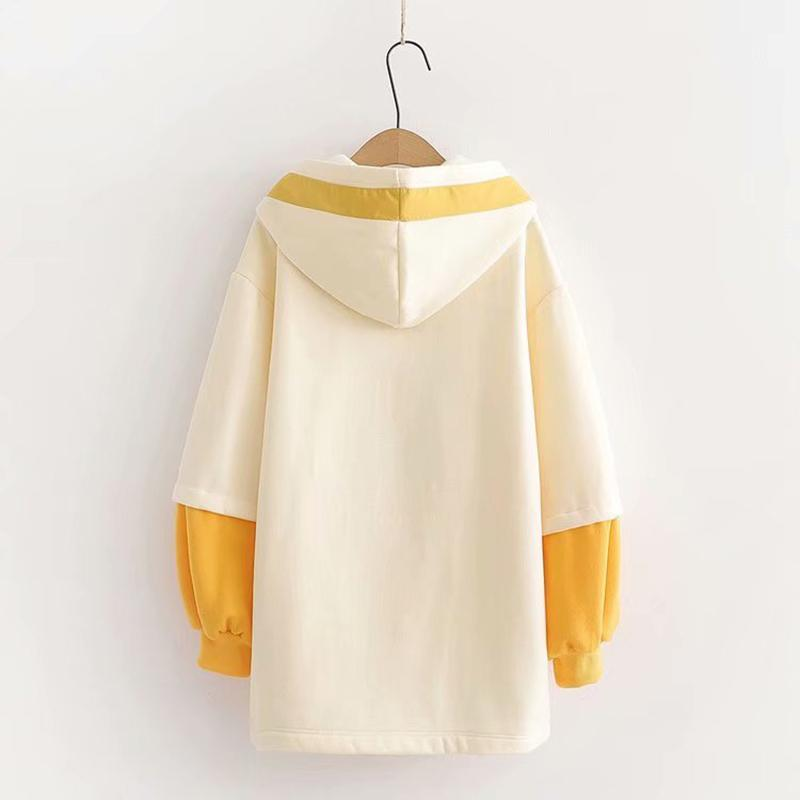 Modakawa Sweatshirt One Size / Yellow Sweet Loose Sakura Hoodie Dress Lantern Sleeve Color Block