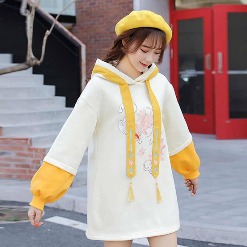 Modakawa Sweatshirt Yellow / One Size Sweet Loose Sakura Hoodie Dress Lantern Sleeve Color Block