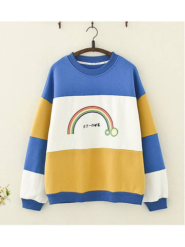 Modakawa Sweatshirt Yellow Rainbow Embroidery Color-block Sweatshirt