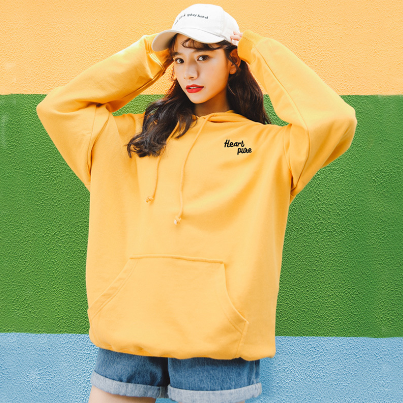 Modakawa Sweatshirt Yellow / S Heart pure Letter Embroidery Hoodies Sweatshirt