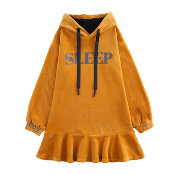 Modakawa Sweatshirt Yellow / S SLEEP Letter Print Velvet Ruffle Hooded Dress