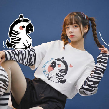 Modakawa Sweatshirt Zebra Print Stripe Fake Two-Piece Sweatshirt