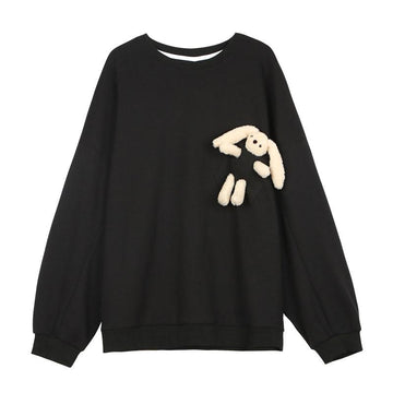 Modakawa Sweatshirts Black / S Cute Bunny Doll Round Neck Oversized Sweatshirt