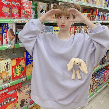 Modakawa Sweatshirts Cute Bunny Doll Round Neck Oversized Sweatshirt