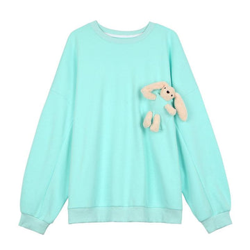 Modakawa Sweatshirts Green / S Cute Bunny Doll Round Neck Oversized Sweatshirt