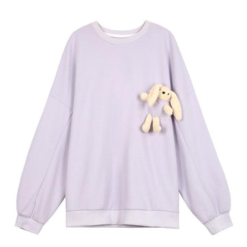 Modakawa Sweatshirts Purple / S Cute Bunny Doll Round Neck Oversized Sweatshirt