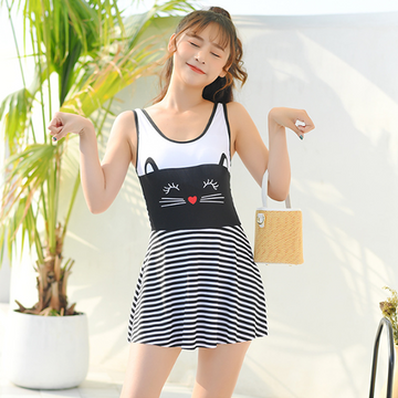 Modakawa Swimwear Black / M Cute Cat Print Stripe Swimdress Swimwear