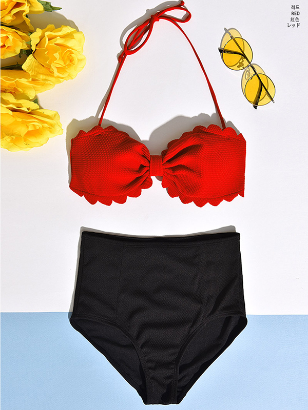 Modakawa Swimwear Red + Black / M High Waist Bikini Swimsuit Sweet and Lovely High Waist Bikini Gathered