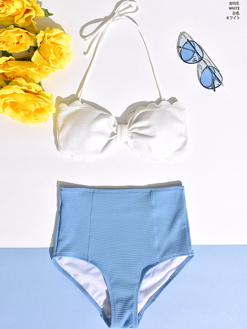 Modakawa Swimwear White + Blue / M High Waist Bikini Swimsuit Sweet and Lovely High Waist Bikini Gathered