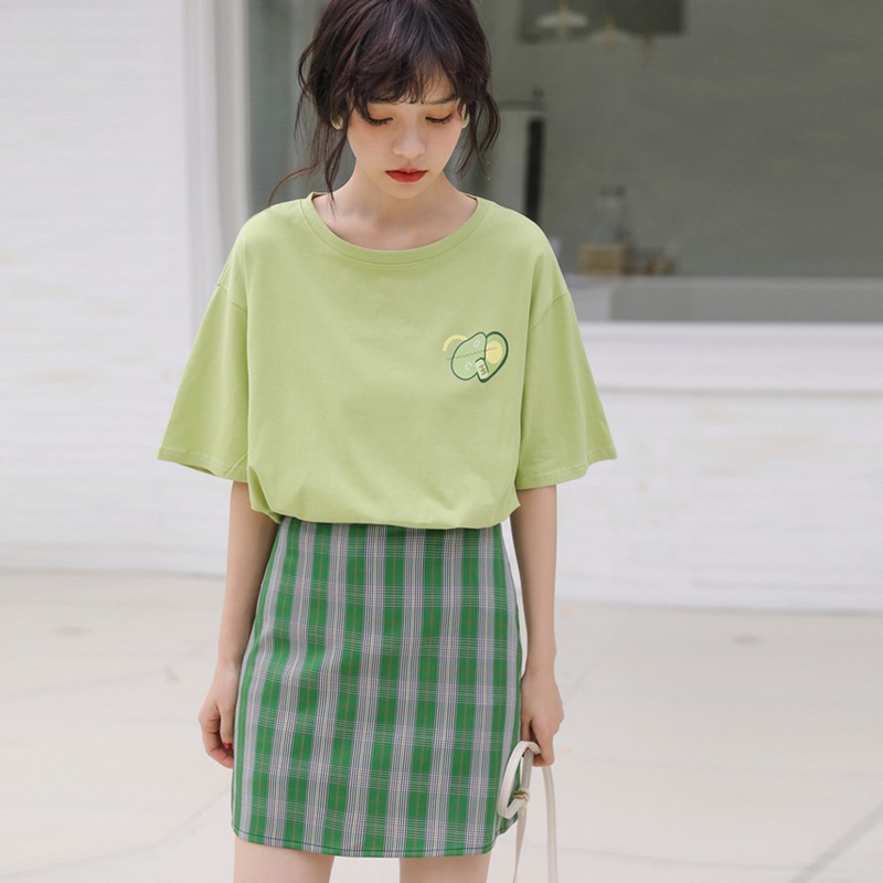 Modakawa T-Shirt Avocado Print T-Shirt Short Sleeve Vintage Pure Color