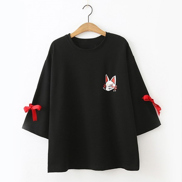 Modakawa T-Shirt Black Fox Print Bow-knot T-shirt