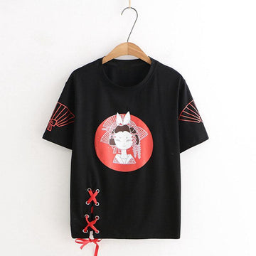Modakawa T-Shirt Black / M Ancient Woman Fan Print Lace Up T-shirt