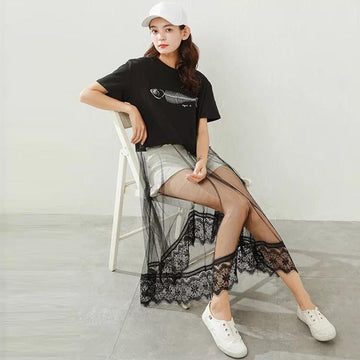Modakawa T-Shirt Black / M Fish Print Lace Splice Dress T-Shirt