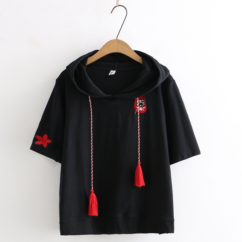 Modakawa T-Shirt Black / M Fox Ghost Face Embroidery Tassels Hoodie T-shirt