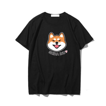 Modakawa T-Shirt Black / M Korean Cartoon Dog Print T-shirt