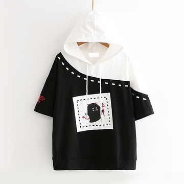 Modakawa T-Shirt Black / M Short Sleeve Hoodie Little Devil Print Loose Tee School Girl