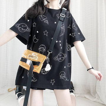 Modakawa T-Shirt Black / One Size Cosmic Cat Planet Print Oversize T-Shirt