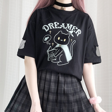 Modakawa T-Shirt Black / One Size DREAMER Magical Cat Print T-Shirt