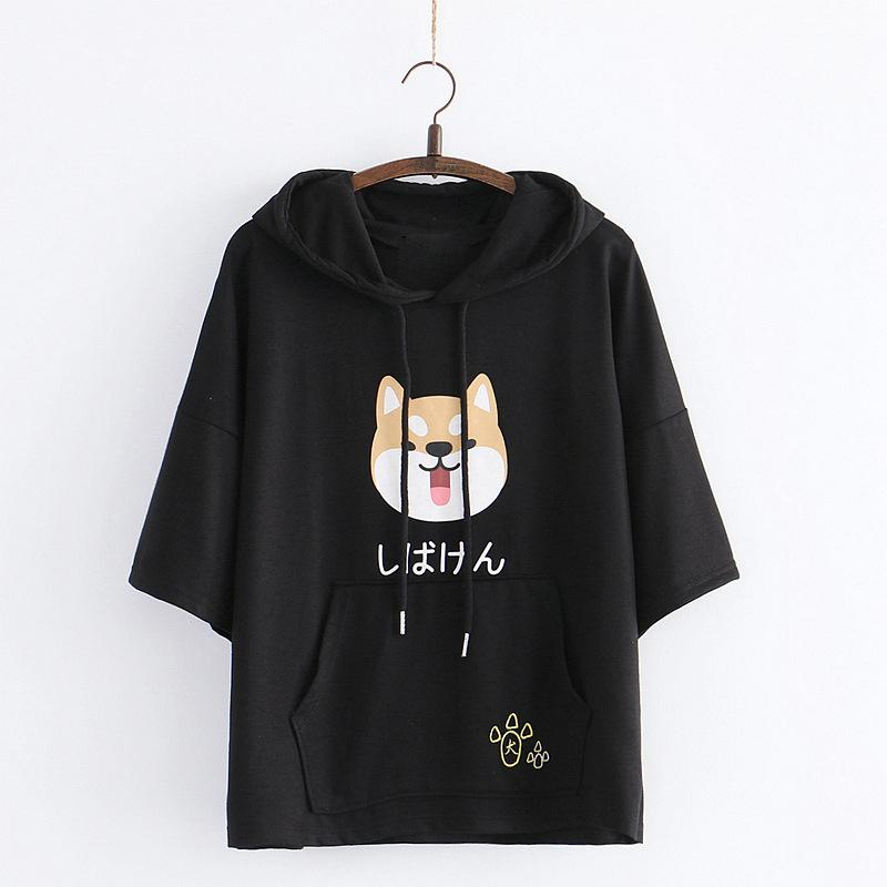 Modakawa T-Shirt Black / One Size Japanese Shiba Inu Print Paw Embroidery Ears Hooded T-Shirt
