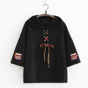 Modakawa T-Shirt Black / One Size Koi Embroidery Lace Up T-Shirt